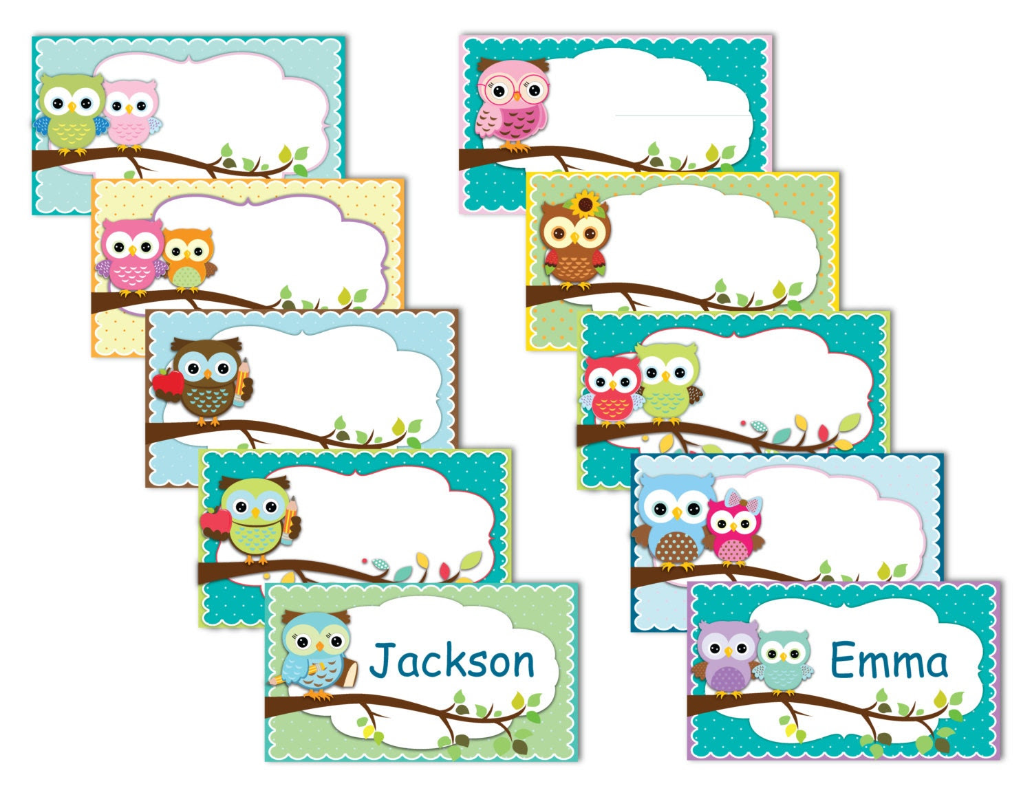 Printable Owl Labels name tags owls instant download   Etsy