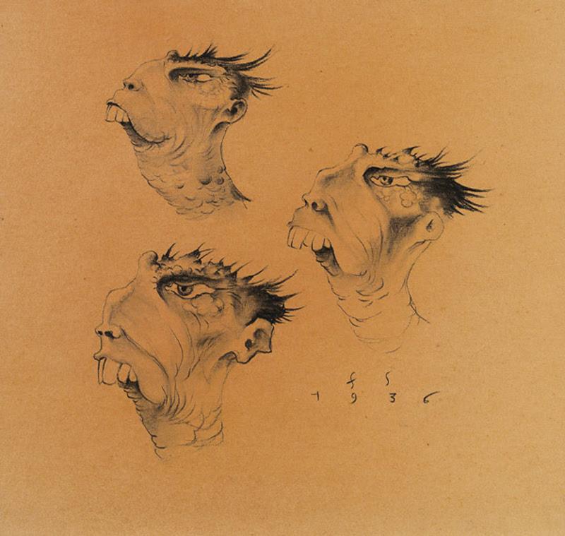 Franz Sedlacek - Imaginary Heads, Study, 1936