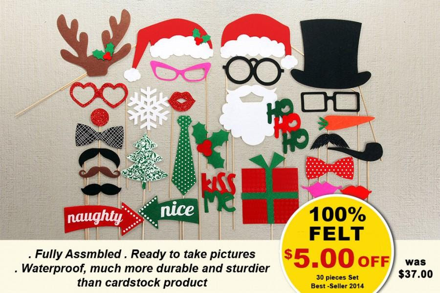 Christmas Photo Booth Props 30 Piece On A Stick Photo Props Set