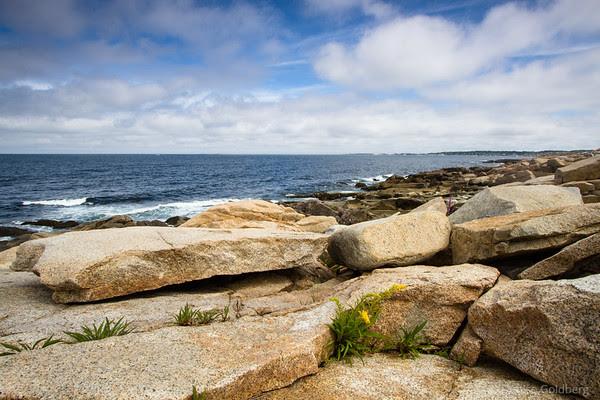 along a rocky coastline