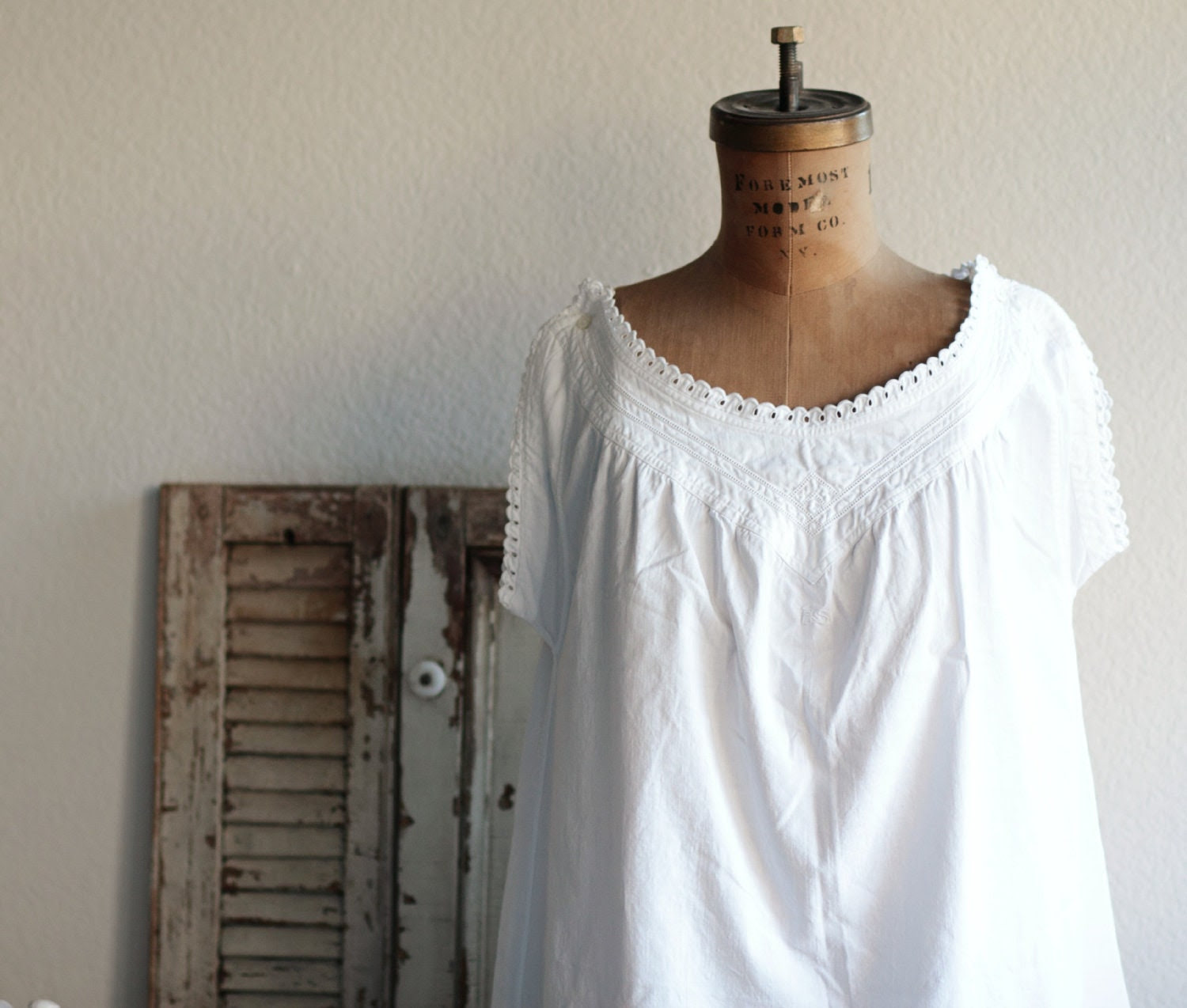 Vintage French White Cotton Night Gown With Monogram E.S.