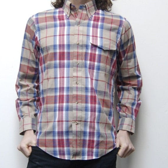 AUTUMN PLAID soft button down collar POCKET shirt