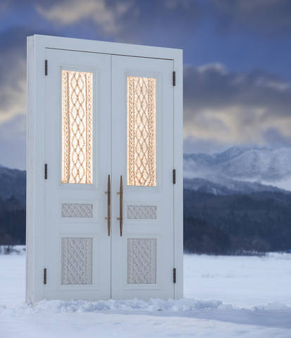 double door for entrance at snow