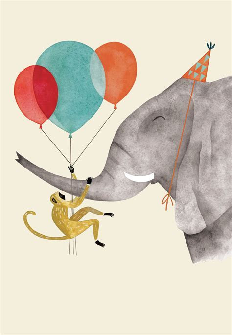 Elephant and Monkey   Birthday Card (Free)   Greetings Island