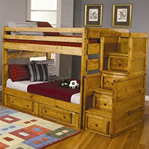 Amazon.com: Full Size Bunk Bed with Stairway Chest in Amber Wash Finish: Kitchen  Dining