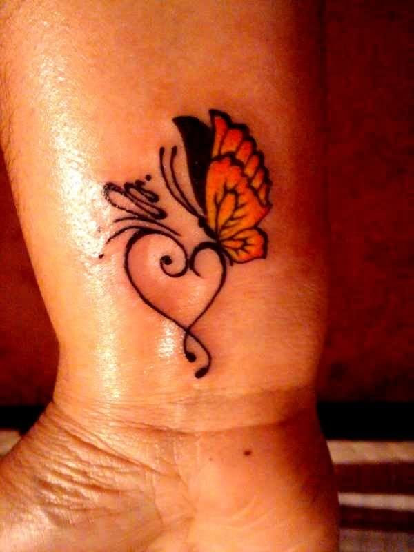 Small Heart And Butterfly Tattoo On Wrist