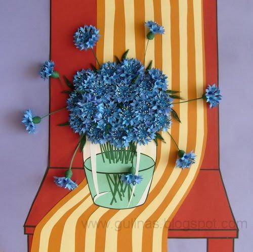 Quilled cornflowers