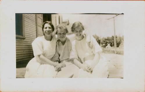 Three women on the steps