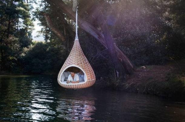 Hanging Chair Lounge Above the River