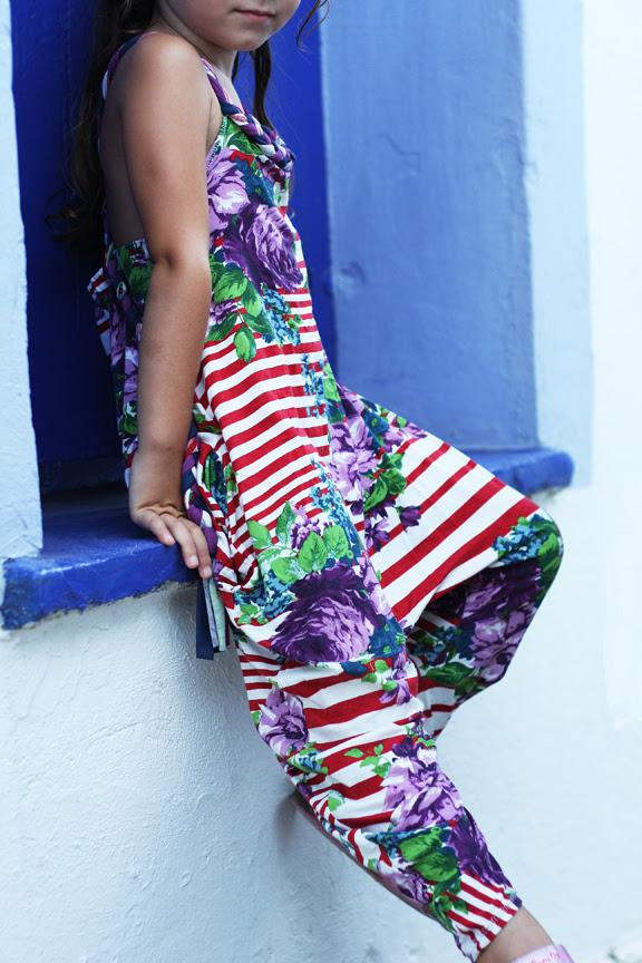 Striped floral jumpsuit