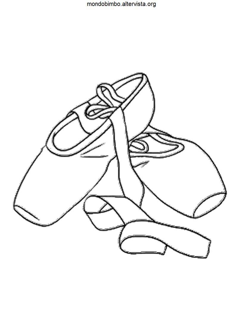 disegni scarpe da ballo colorare scarpe da punta
