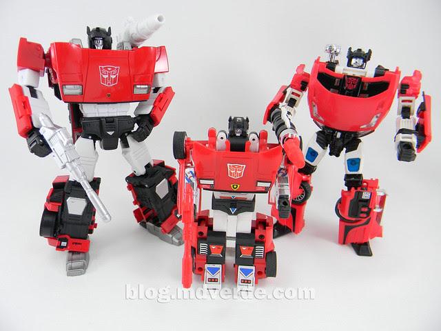 Transformers Sideswipe Masterpiece - modo robot vs G1 vs Henkei