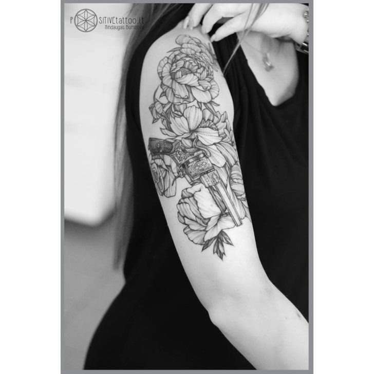 Shoulder Tattoo Flowers And Gun Best Tattoo Ideas Gallery