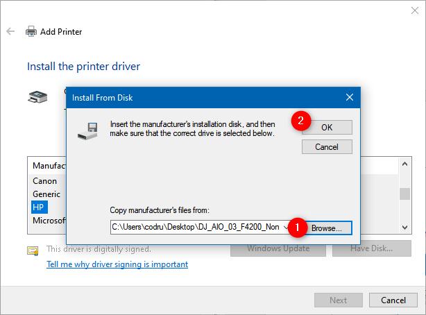 Elegir la ubicación del controlador de la impresora