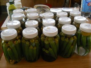 Jars of Preserved Okra