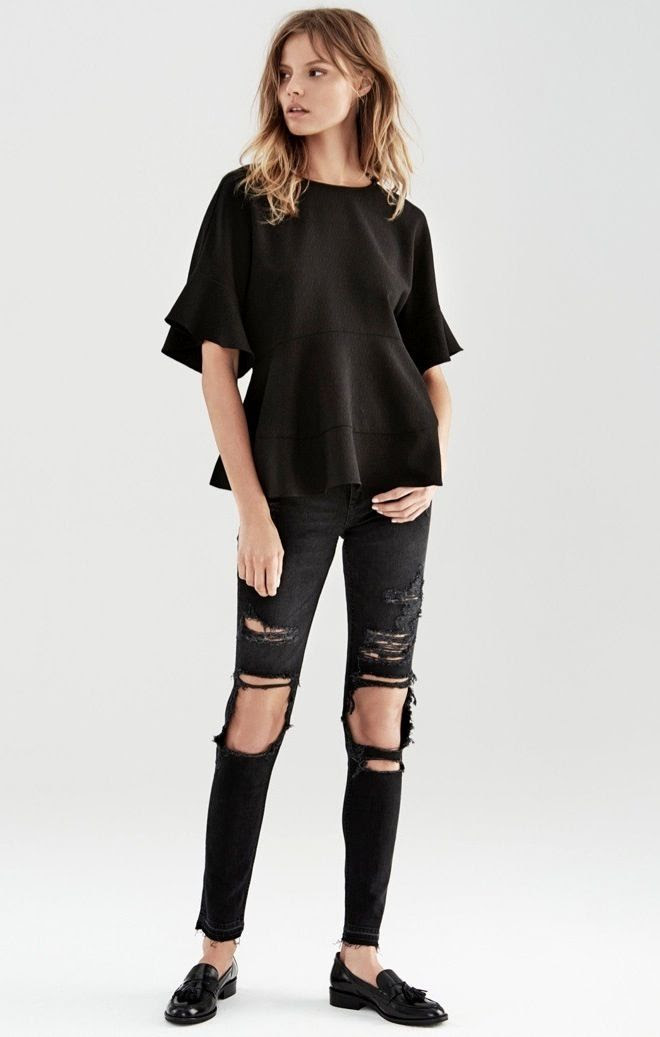 Le Fashion Blog Magdalena Frackowiak All Black On Black Look Peplum Top Shredded Ripped Jeans Patent Loafers Casual Chic Edgy Style Via HM