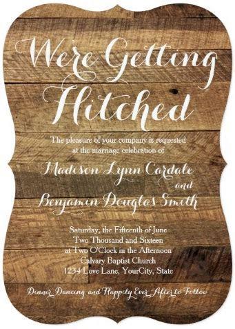 Getting Hitched Barn Wood Wedding Invitations   Zazzle.com