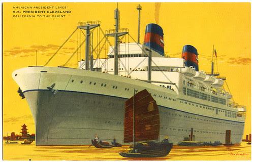 S.S. President Cleveland_postcard front_tatteredandlost