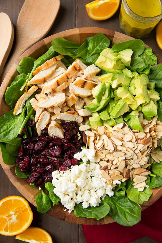 Cranberry Avocado Spinach Salad with Chicken and Orange Poppy Seed Dressing  Cooking Classy