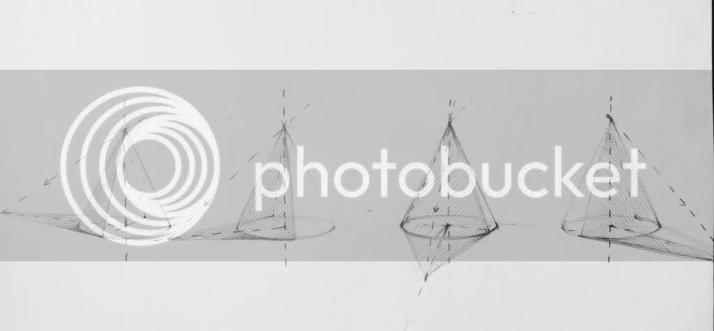 hình khối vơ bản, Khối chóp, ánh sáng khối chóp, bogns đổ khối chóp
