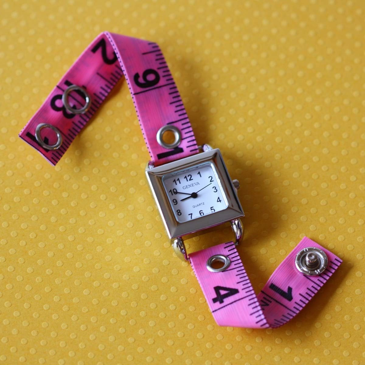 Tape Measure Watch in Pink