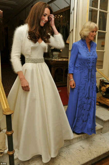 The Duchess of Cambridge in her evening dress for the dinner reception this evening.