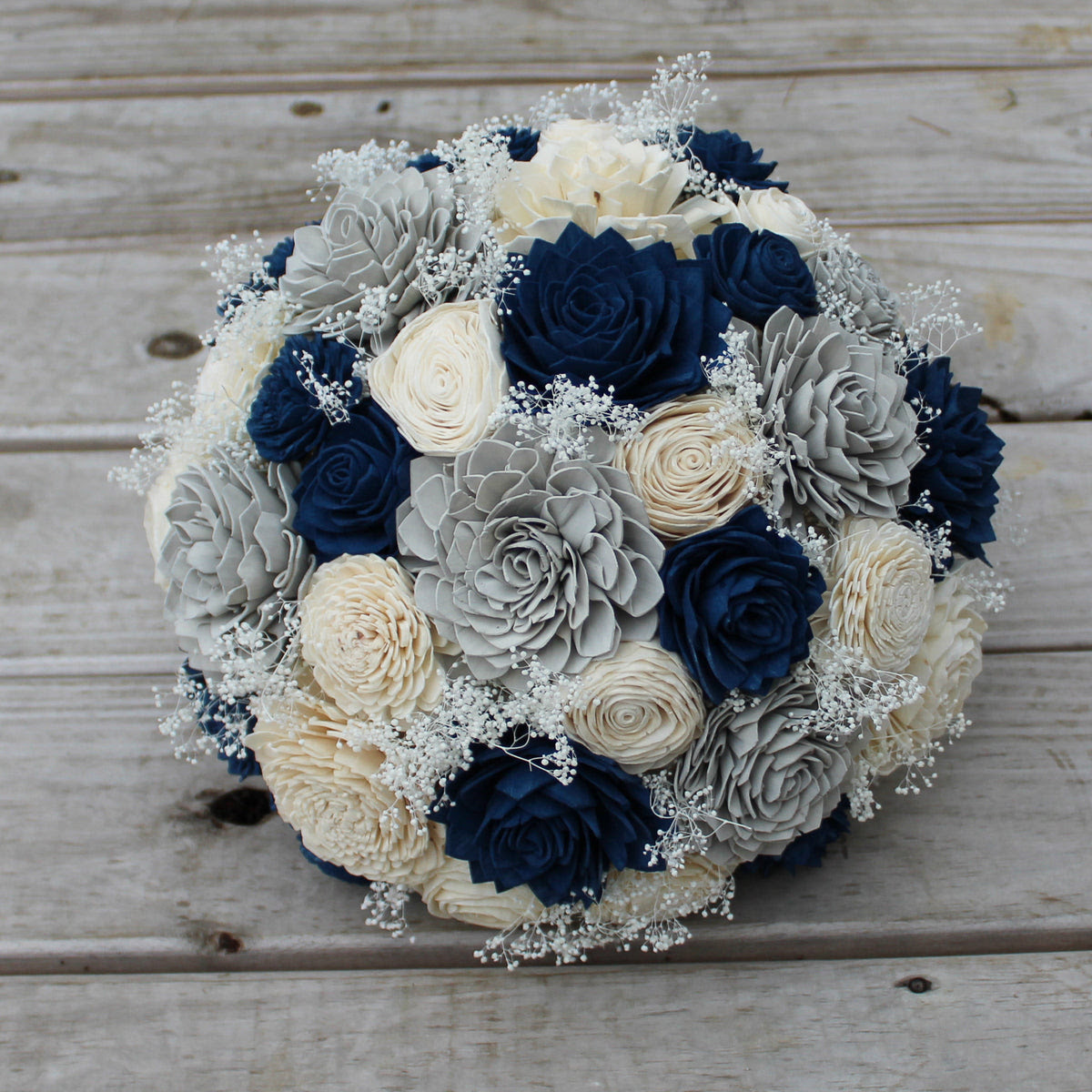 Sola Wood Flower Bouquet Navy Blue Gray And Ivory Simple Round W Wood Flowers Co