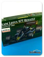 Maqueta de coche 1/20 Fujimi - Lotus Renault 97T John Player Special - Nº 11, 12 - Ayrton Senna, Elio de Angelis - Gran Premio de Belgica 1985 - maqueta de plástico