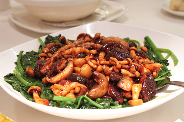 Fried Assorted Mushrooms with Spinach