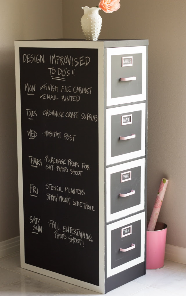 Chalkboard Painted Filing Cabinet
