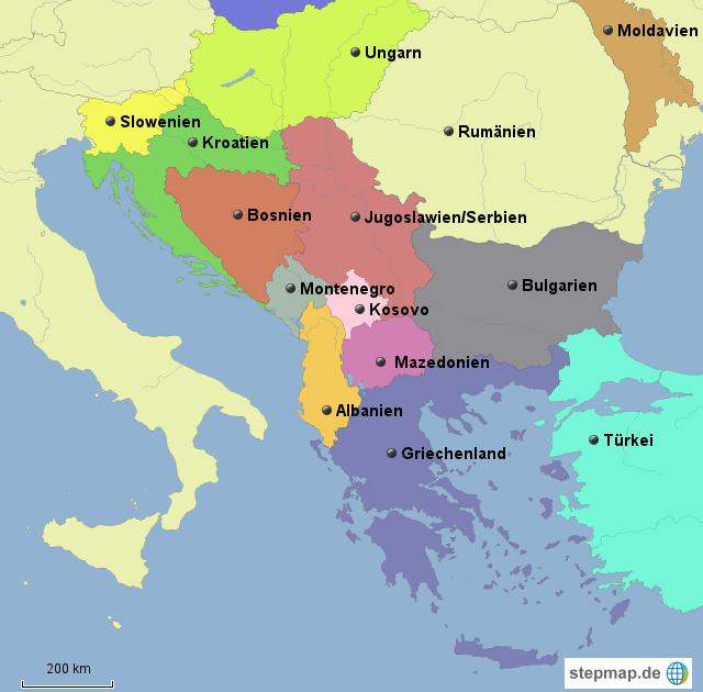 Landkarte Südeuropa