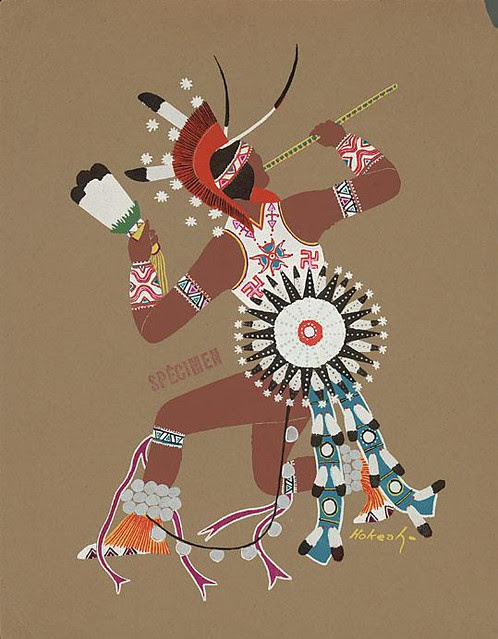 pochoir print of American Indian dance ritual by J Hokeah
