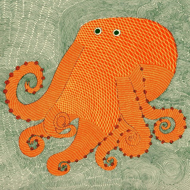 Octopus (detail) by Rambharos Jha (in 'Waterlife' pub. by Tara Books, Chennai, India)