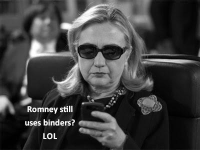 Hilary: Romney still uses binders? LOL