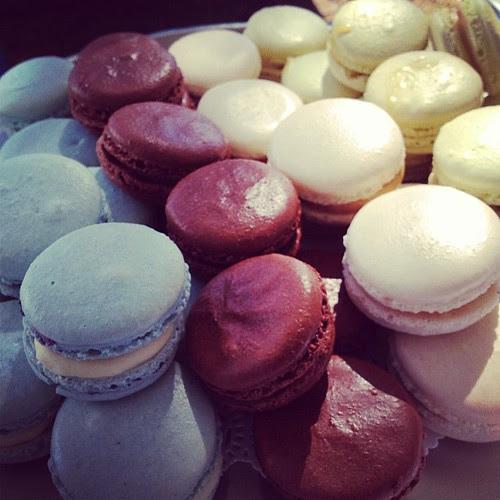 Macaron's - spiced blueberry, Belgian chocolate, pink salt caramel & lemon & lime. by Louisa Morris Cakes