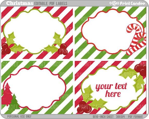 Rectangle Editable PDF 8x10 Christmas Labels No. 235