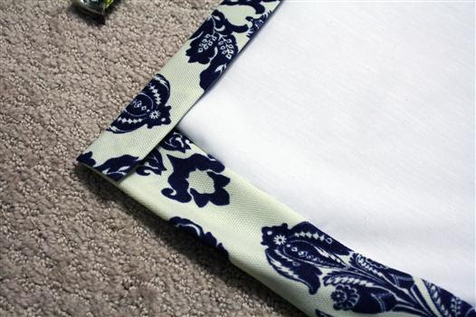 Top edge of lined curtain panels