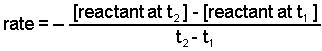 Average rate equals the negative of the change in concentration divided by change in time