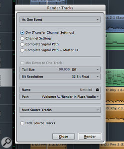 The Render In Place settings give you plenty of flexibility when rendering your audio or MIDI events and tracks.