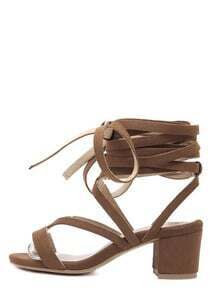 Brown Faux Suede Crisscross Lace-up High Knee Sandals