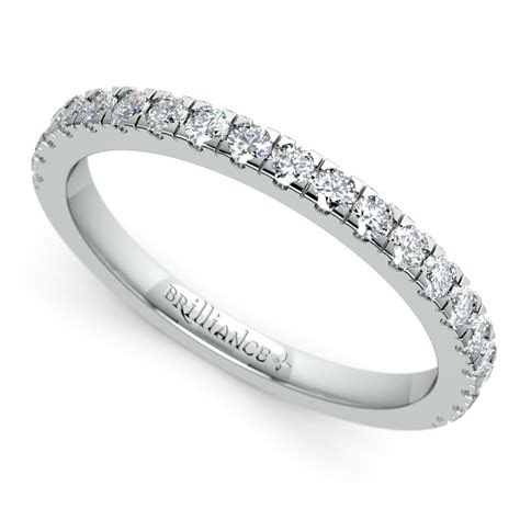 petite pave diamond wedding ring  platinum  ctw
