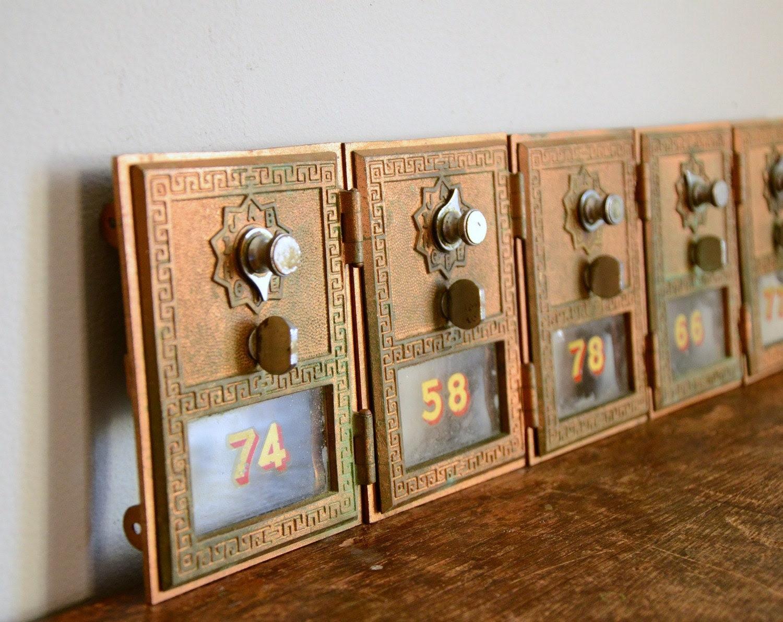 Vintage Post Office Box Door .. Brass