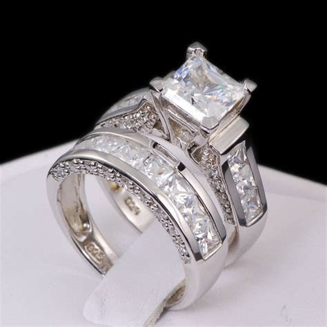 4.35 Ct Princess Cut AAAAA CZ Sterling Silver Wedding Ring