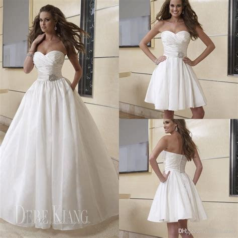 Simple A Line Beach Wedding Dresses 2 In 1 Detachable Long