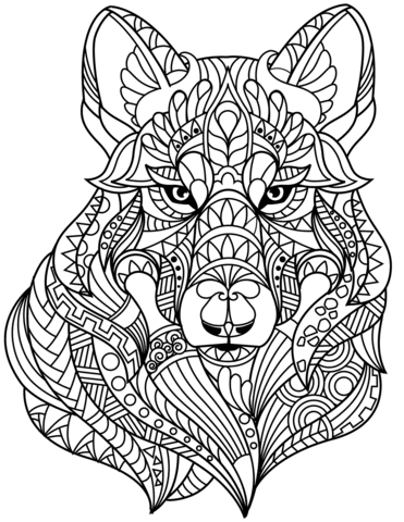 Wolf Head Zentangle coloring page | Free Printable ...