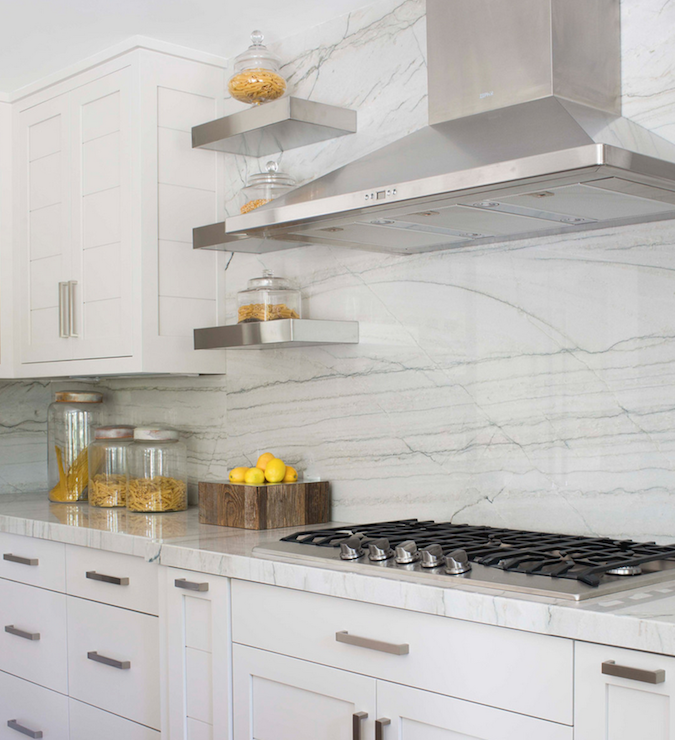 White Quartzite Countertops - Transitional - kitchen ...