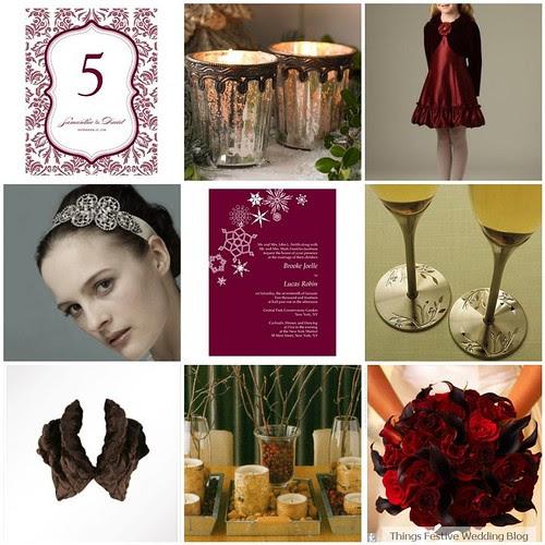 For a sumptuous winter wedding color palette blend the rich color of
