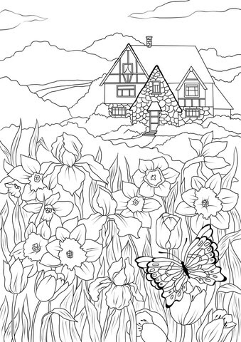 spring flowers butterfly and country house coloring page  free printable coloring pages
