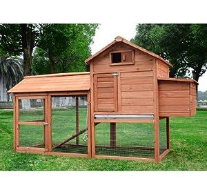 Pawhut Deluxe Backyard En Coop Hen House W Outdoor Run