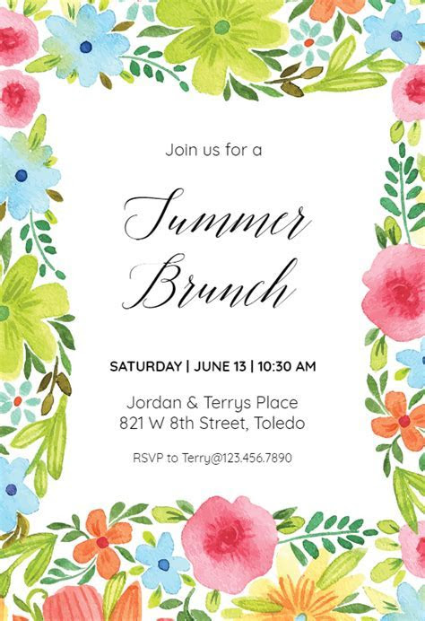 Summer blossom   Pool Party Invitation Template (Free